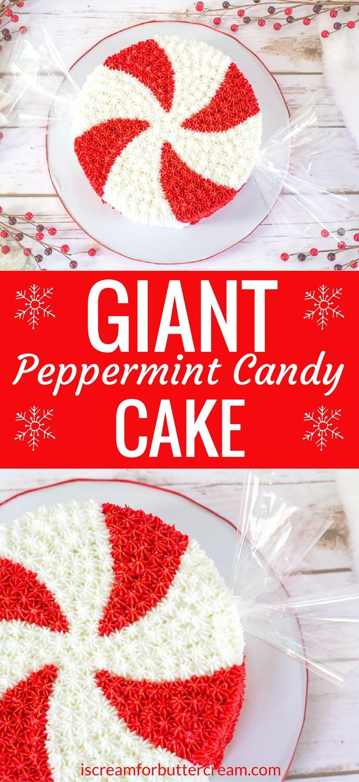 What's more fun for the holidays than a giant peppermint candy cake? It's such a fun and easy Christmas cake for the holiday season.  #christmascake #peppermintcake #holidaycake