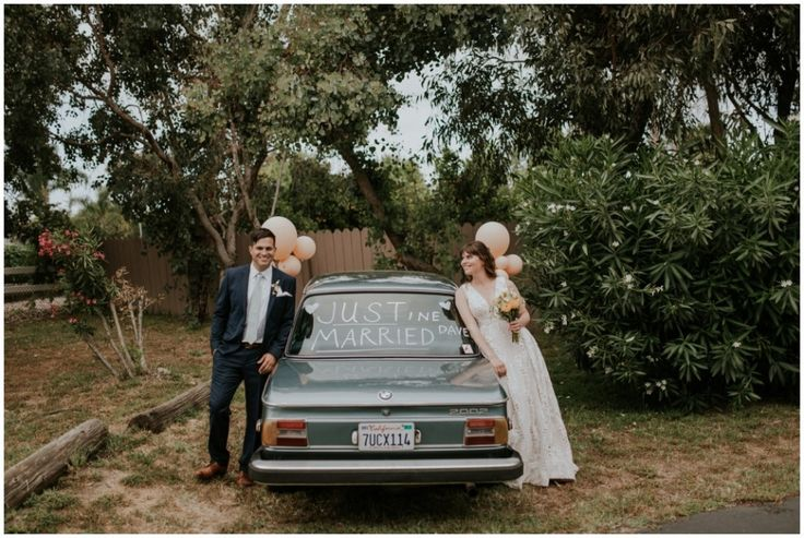 A fun, mismatched backyard wedding at the Olivenhain Town Meeting Hall in San Diego. Complete with arcade games, a parade, and a live band! || Photography by Shelly Anderson || www.shellyandersonphotography.com