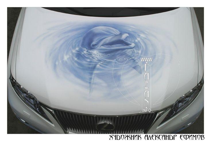 Аэрография на капоте автомобиля Lexus RX 450. Подводный мир и дельфины.   #cars #auto #dolphins #sea #water #ocean #animals #art #artwork #tuning #lexus #airbrush