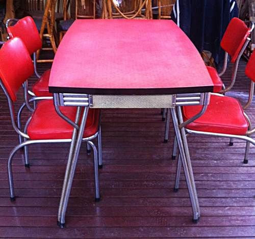 Red Kitchen Table And Chairs Set: Retro Kitchen Tables, Chair, Dining