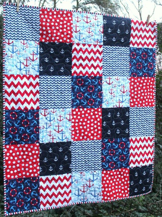 /& Blue White Baby Boy Quilt ~ Baby Quilts Handmade ~ Red Sailor Baby Quilt ~ Nautical Nursery ~ Baby Nautical Anchor