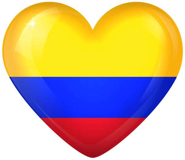 Colombia Large Heart Flag