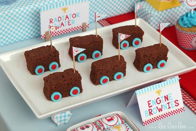 Festa carros - brownie de carrinhos