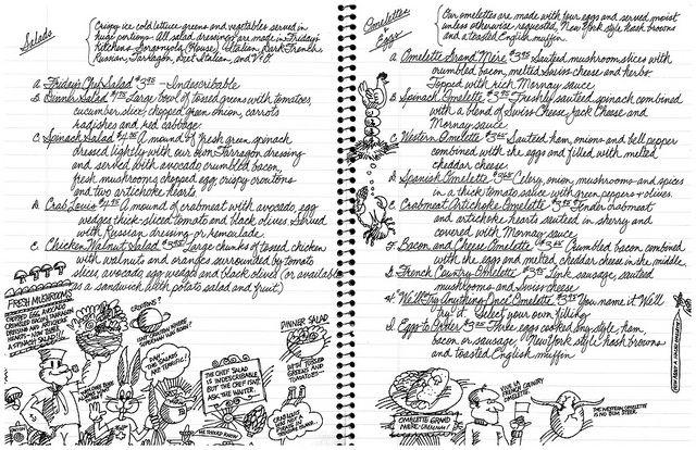 TGI Friday's Menu p6-7 salads omelettes & eggs, c1980 by btreat, via Flickr