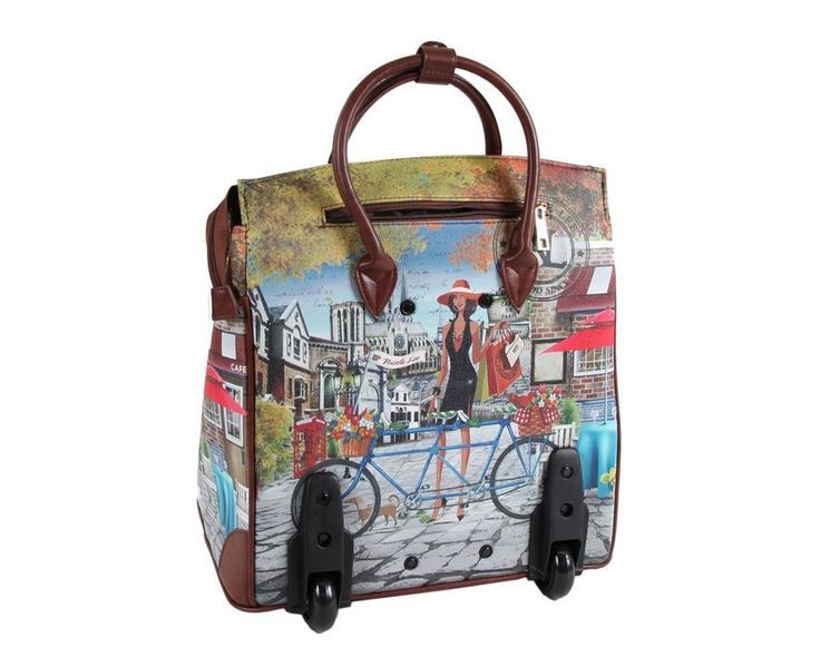 Bicycle Rolling Tote Nicole Lee Travel Bag Manhattan Leather Business Briefcases | eBay