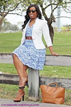 Your Curves, Your Style Dia&Co picks out fashion for you & delivers to your door. Sizes 14&up. Plus sized fashion picked just for you.  Take the stress out of shopping & order your first box today. #Dia&Co #affiliateLink pretty soft blue & white floral dress, white blazer and belt. camel pumps