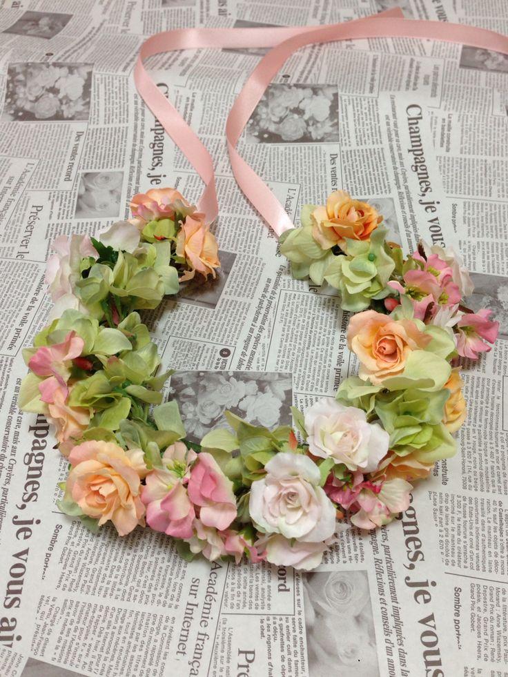 ☆花冠☆ 淡い色合いでまとめた花冠