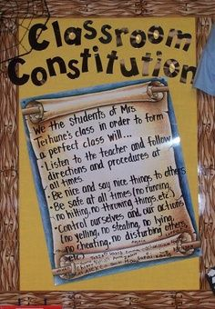 Class Constitution:  Something you can set up with class at the first of the year, or if you are in 5th grade talking about the american constitution.  Great way to have kids realize what things are most important when it comes to a community