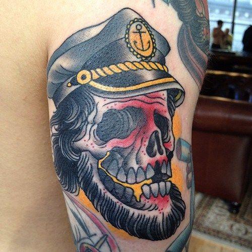 peter lagergren captain skull traditional tattoo | Neo ...