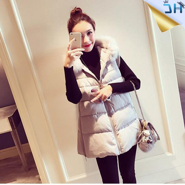 34.99$  Buy here - https://alitems.com/g/1e8d114494b01f4c715516525dc3e8/?i=5&ulp=https%3A%2F%2Fwww.aliexpress.com%2Fitem%2F2016-Winter-Sleeveless-Jacket-Women-Parka-Fur-Collar-Thin-Cotton-Padded-Winter-Coat-Manteau-Femme-Vest%2F32781229780.html - 2016 Fashion Winter Sleeveless Jacket Women Parka Hooded Fur Collar Thin Cotton Padded Autumn Girls Coat Manteau Femme Vest  34.99$