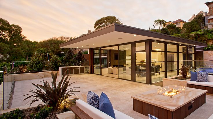 Relaxing rooftop terrace seating with gas fire pit in Balmoral Beach Sydney