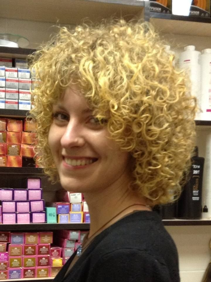 shorter perm style--very full on top