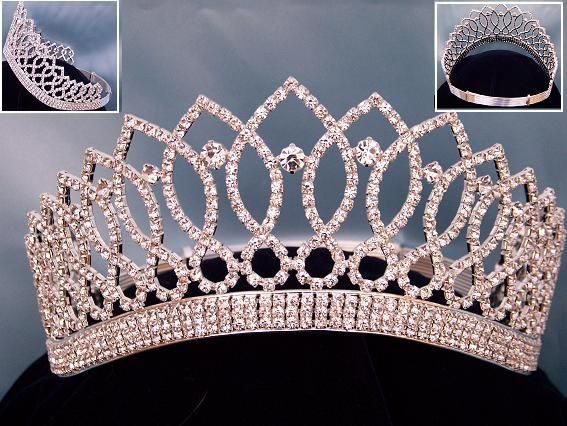 Miss Beauty Queen Contoured  Crown Tiara Beatiful Crown/Tiara manufactured with the most exquisite clear crystal rhinestones and silver plated metal. 3.5  inche