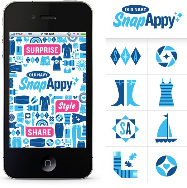 Old Navy's new SnapAppy app—a mobile app used in store to uncover games, style tips and special deals. Project included branding, graphic iconography, badge illustrations and seasonal pattern designs.