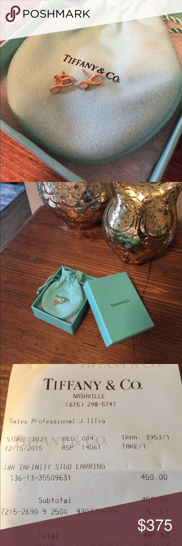 Authentic Tiffany and Co gold infinity earrings Authentic Tiffany and Co gold Infiniti earrings with original receipt. These are missing one of the backs. Still in great condition! Almost $500 new. Tiffany & Co. Jewelry Earrings