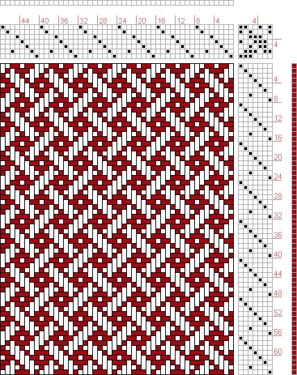 Hand Weaving Draft: Plate 39, Figure 22, Dictionary of Weaves Part I by E.A. Posselt, 7S, 7T - Handweaving.net Hand Weaving and Draft Archive