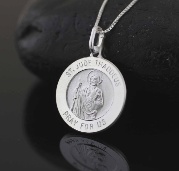 St. Jude Medal, Saint Jude Necklace, Sterling Silver St Jude Necklace, Silver Saint Jude Double Medal, Saint of Hope and Impossible Causes by theangelfaith on Etsy