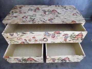 Leuk oud bijouterie kistje / opberg kastje met laadjes