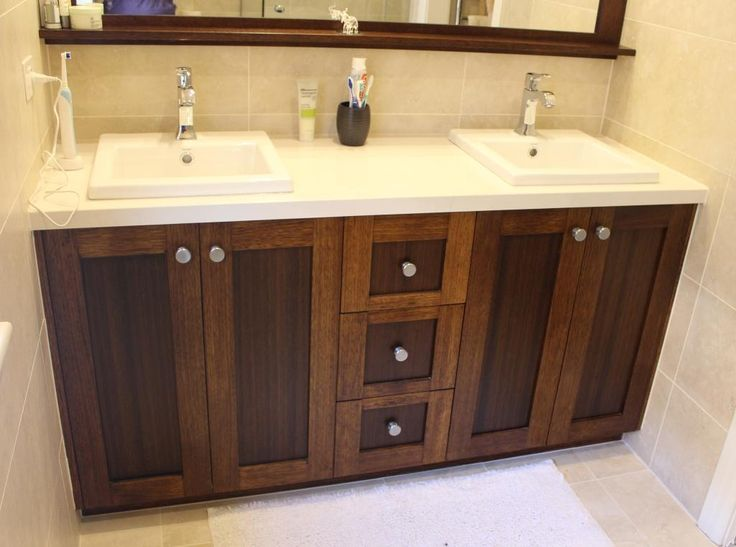 solid timber vanity unit