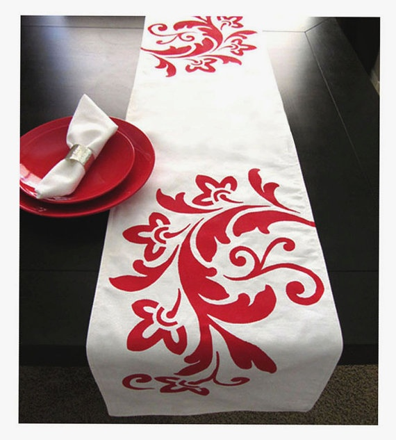 on Dotcoms for moms by celine and kate  handpainted table runner