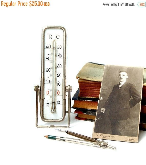 SALE 15% off Antique Desktop Thermometer by millyscollection