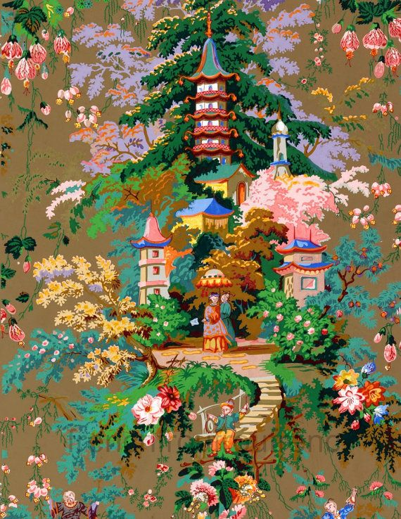 antique chinoiserie wallpaper illustration digital download