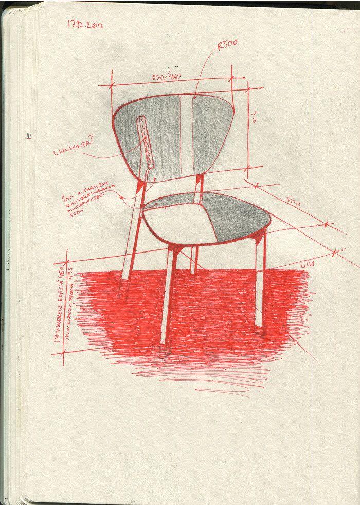 croquis - design - Doppio café chair bois et cuivre par Riku Tuppela