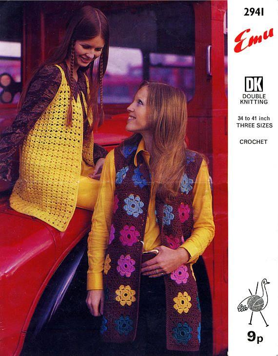 PDF Vintage 1970s Womens Ladies Crochet Pattern Granny Square
