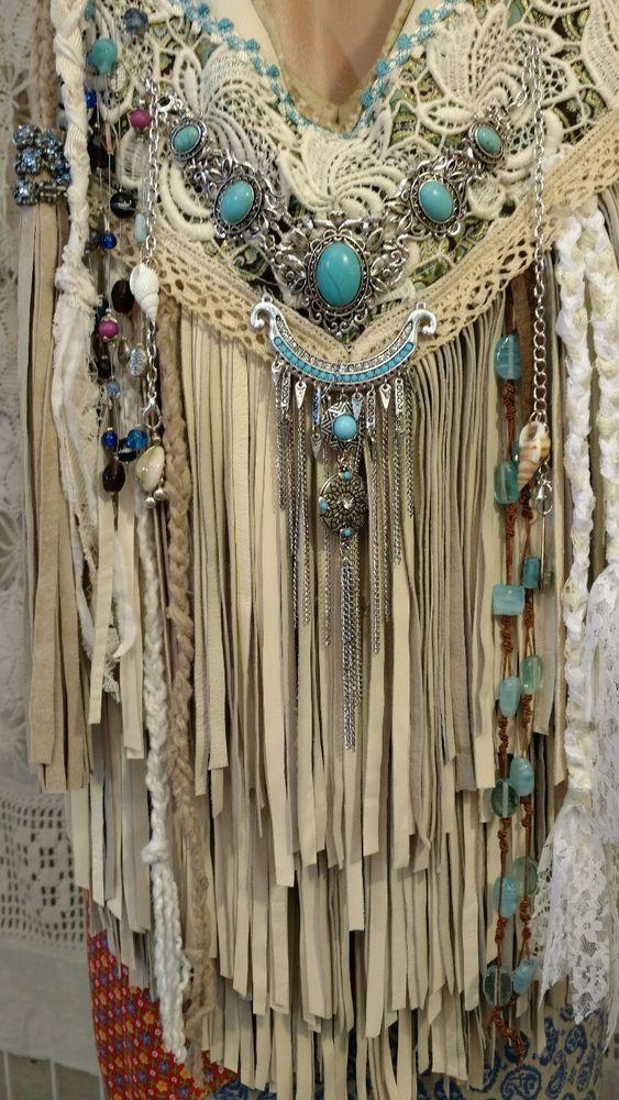 Handmade Ivory Leather Fringe Shoulder Bag Hippie Boho Hobo Vintage Lace tmyers #Handmade #ShoulderBag