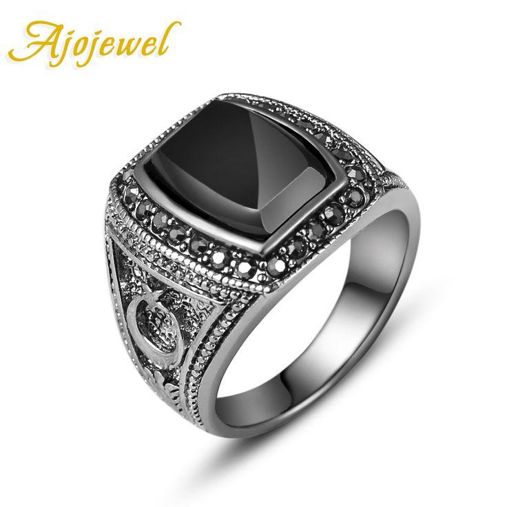 Ajojewel Size 8-11 Moon & Star Designer White Gold Plated Black Stone Male Ring Finger