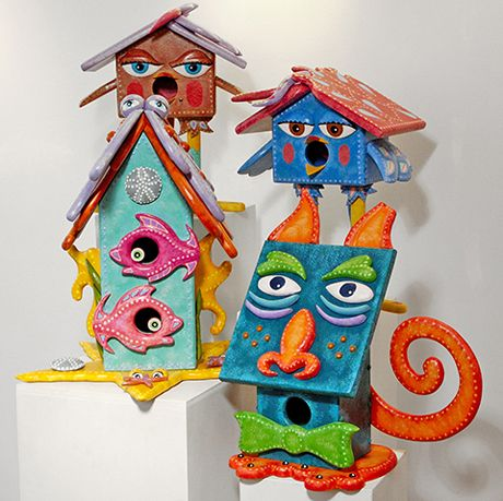 Interesting. vintage bird house paintings have