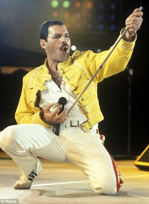 Freddy Mercury of QUEEN. One of, if not the best showman in Rock and Roll of all-time. #singer #rockstars http://www.pinterest.com/TheHitman14/musician-singerfrontmen-%2B/