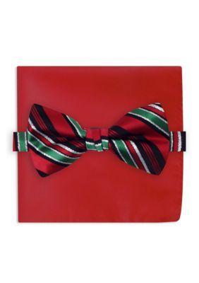 Holiday Ties By Hallmark Men's Candy Cane Metallic Stripe Tie - Multi - One Size