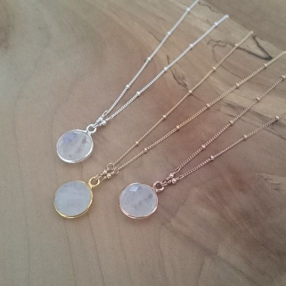 12mm Rainbow Moonstone Necklace, Rose Gold Moonstone Necklace, Silver Moonstone Necklace, Round Moonstone Pendant, Satellite Chain Necklace