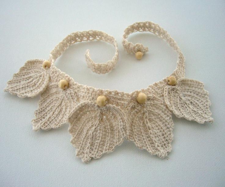 Crochet linen necklace leaves  http://www.etsy.com/shop/CraftsbySigita?ref=si_shop