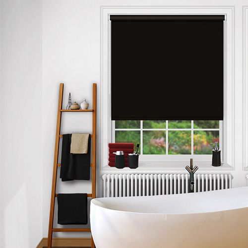A timeless black waterproof blind that is flame retardant and blackout.