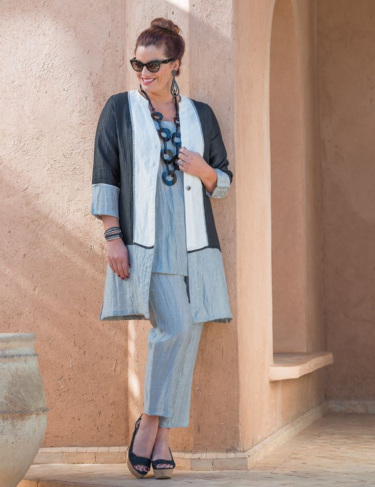 Kasbah+black/cream/silver+crushed+linen+coat,+vest+and+narrow+trouser