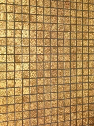 Textured, Gold Mosaic Tile For Walls