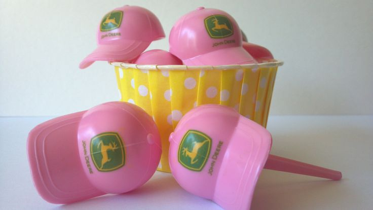 Pink John Deere tractor hat cap cupcake picks cake toppers, for a special country girl or wedding, farmers or farm chicks wanted. $6.00, via Etsy.