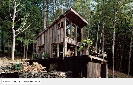 Great Room - A Look at Fashion Stylist Scott Newkirk's One-Room Cabin in the Woods -- New York Magazine: Dreams Cabins, Reclaimed Barns Wood, Modern Living, New York, Tiny Cabins, Small Cabins, Rustic Cabins, Wood Houses, Old Barns