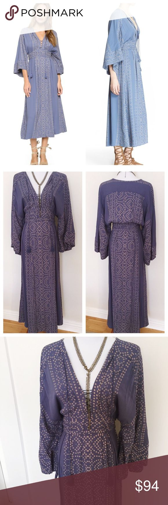 Free People Modern Kimono Maxi dress dusty grey 8 NWT no flaws.  Color is called dusty grey but it's more a grey blue color.  Called a maxi but it's more midi length. There is a little separation at the seam at the top of the zip which I will fix before shipping.  🚫 modeling request, 🚫 trades and 🚫 🅿️🅿️. Reasonable offers welcome! Free People Dresses Midi