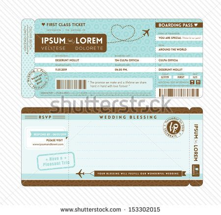 Boarding Pass Ticket Wedding Invitation Template by kraphix, via Shutterstock