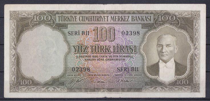 5.EMİSYON 1.TERTİP 100 LİRA B11 02398.TEMİZ+ - Gökçe Koleksiyon, Eski Kağıt Para, Eski Para, Osmanlı Paraları, osmanlı kağıt para, darphane hatıra para, madeni para