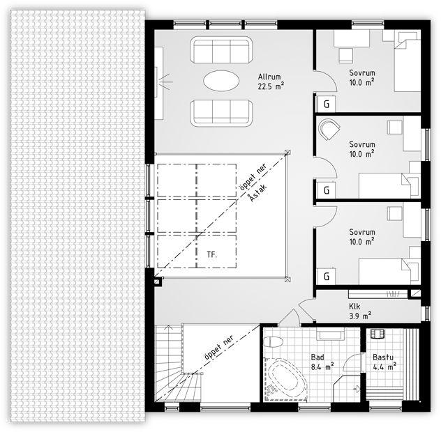 Cogito är ett stort och lyxigt hus på två plan för familjer med barn. Inglasad innergård ger en härlig känsla.