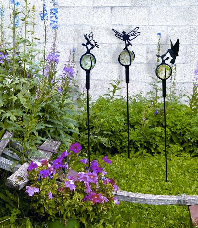 Wrought Iron Hummingbird Marble Garden Stake