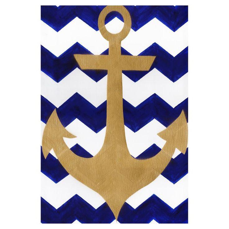 Toland Home Garden Chevron Anchor Flag - 1110906