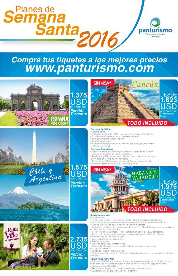 Aprovecha los planes que te trae Panturismo para tus vacaciones en Semana Santa. www.panturismo.com
