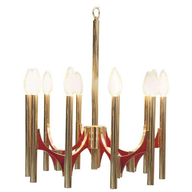 Gaetano Sciolari Twelve Arm Brass Chandelier Brass
