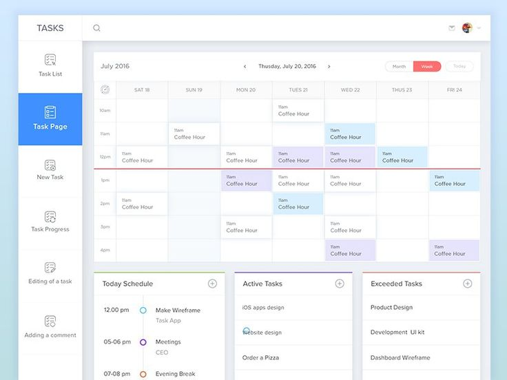 Task Page Calendar View