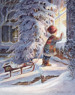 Outside looking in by Trisha Romance / Christmas Card Art - Postcard - Posters